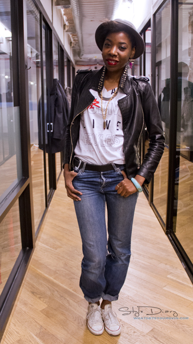 MONDAYJACKET: Zara Leather Moto JacketTee: Young & RecklessJeans:Mavi Shoes: ConverseHat: Shannon Phillips